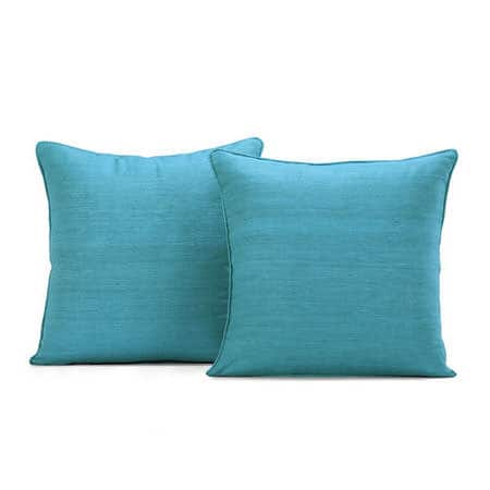 Cozumel Blue Raw Silk Cushion Cover - Pair