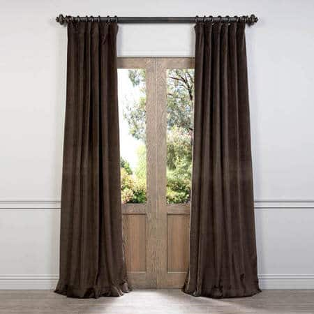 Ash Brown Cotton Velvet Curtain