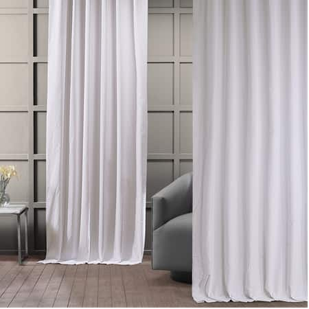 Powder White Vintage Cotton Velvet Curtain