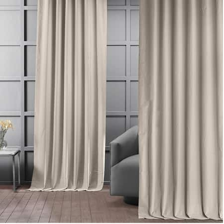 Chanterelle Taupe Vintage Cotton Velvet Curtain
