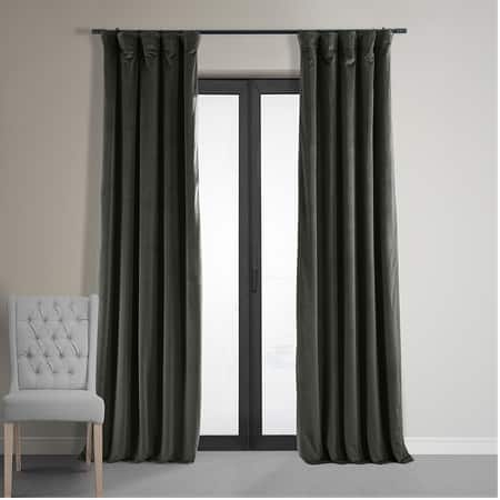 Signature Gunmetal Grey Blackout Velvet Curtain