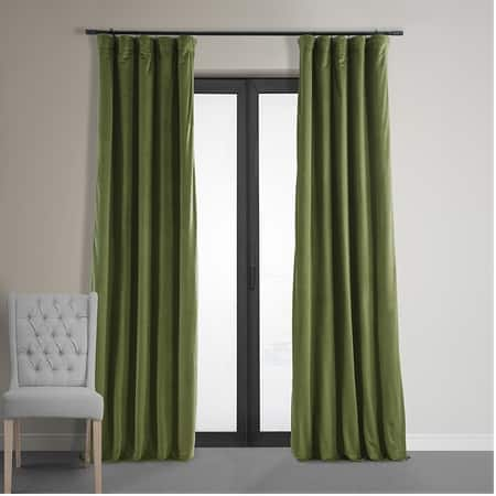 Signature Basque Green Blackout Velvet Curtain