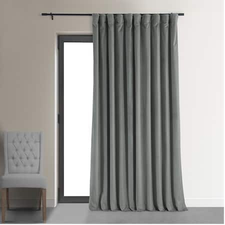 Signature Silver Grey Extra Wide Velvet Blackout Pole Pocket Curtains