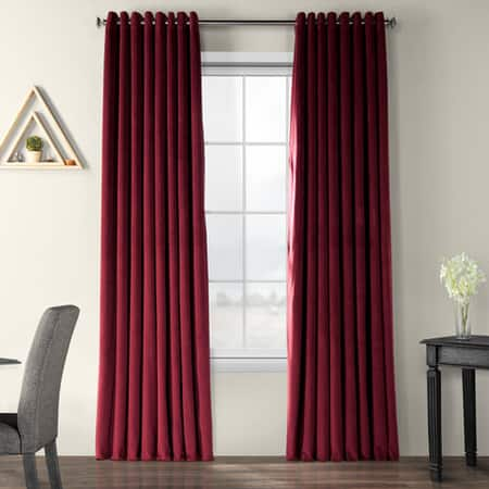 Signature Burgundy Extra Wide Grommet Blackout Velvet Curtain