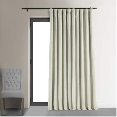 Signature Warm Off White Extra Wide Velvet Blackout Pole Pocket Curtain