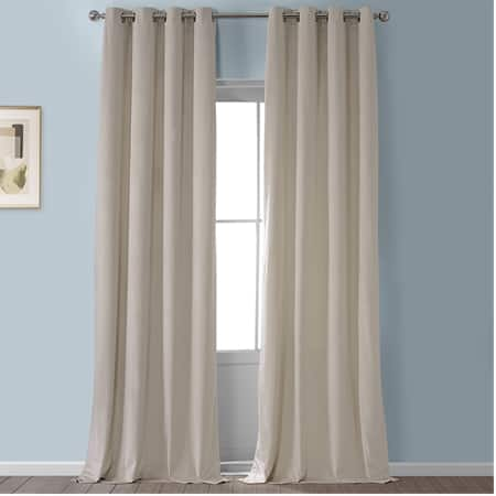 Light Beige Heritage Plush Velvet Grommet Curtain