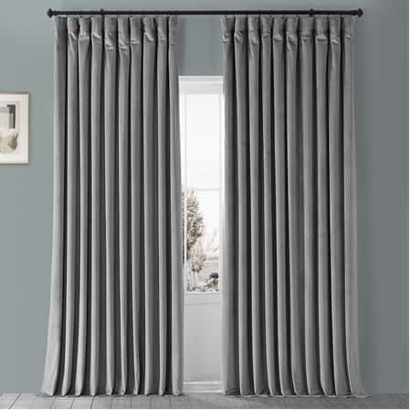 Destiny Grey Heritage Plush Velvet Extrawide Curtain