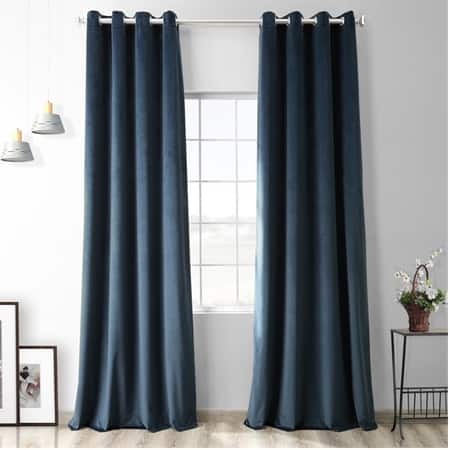 Avalon Blue Heritage Plush Velvet Grommet Curtain