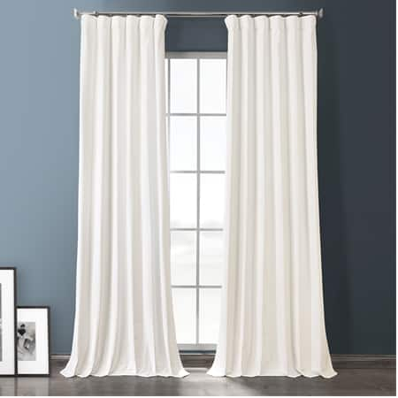Warm White Plush Velvet Hotel Blackout Curtain