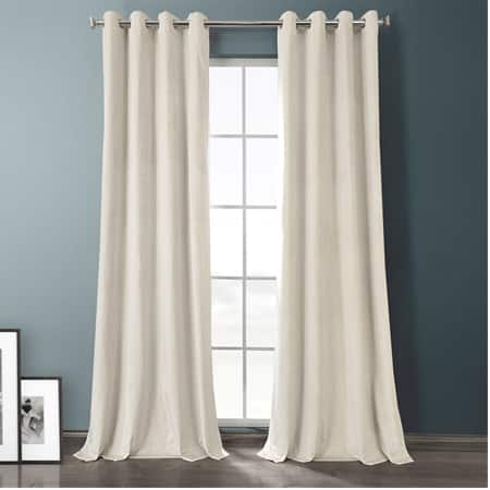 Sandalwood Beige Plush Velvet Hotel Blackout Grommet Curtain