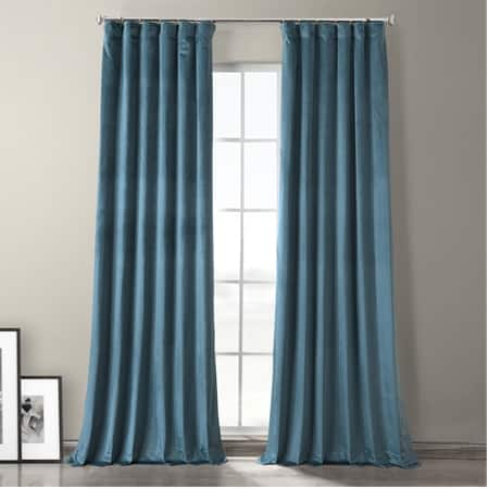 Caspian Blue Plush Velvet Hotel Blackout Curtain