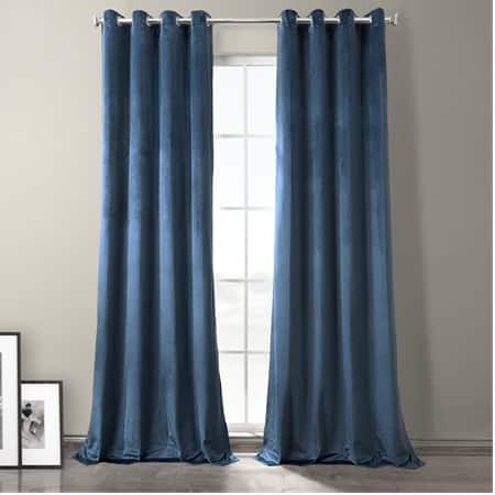 Baroness Blue Plush Velvet Hotel Blackout Grommet Curtain