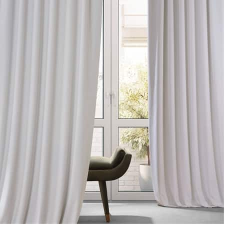 Signature Misty White Plush Velvet Hotel Blackout Curtain