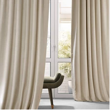 Signature Angora Beige Plush Velvet Hotel Blackout Curtain