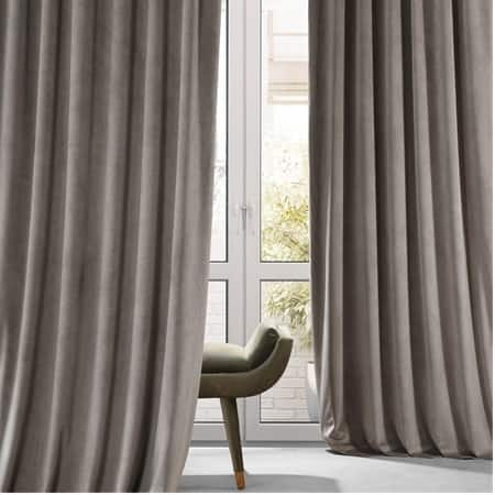 Signature Library Taupe Plush Velvet Hotel Blackout Curtain
