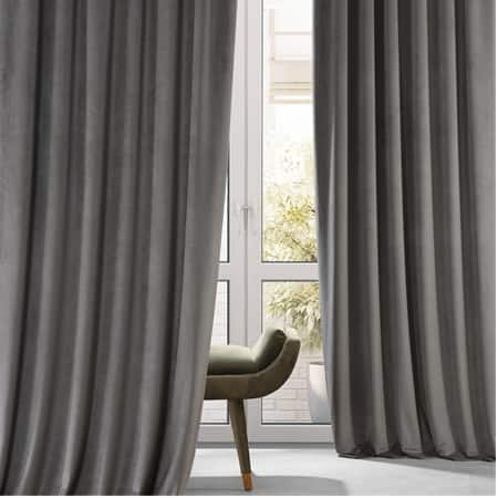 Signature Nightlife Grey Plush Velvet Hotel Blackout Curtain