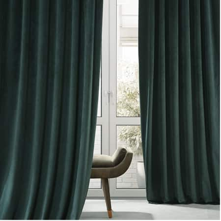 Signature Spirit Green Plush Velvet Hotel Blackout Curtain