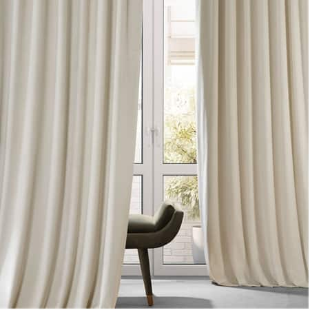 Signature Diva Cream Plush Velvet Hotel Blackout Curtain