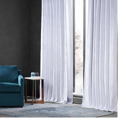 Iconic White Performance Velvet Blackout Curtain Pair (2 Panels)