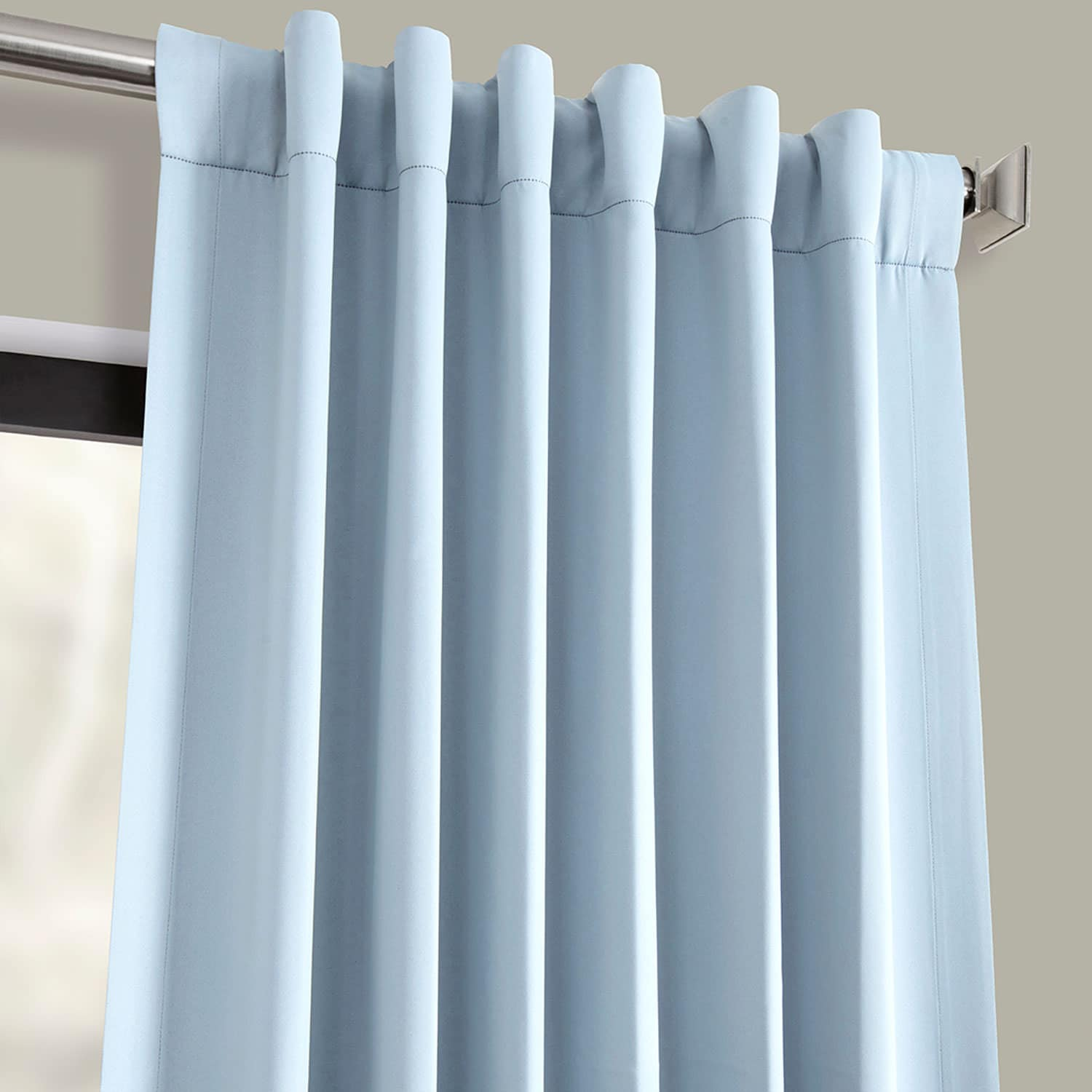 Frosted Blue Blackout Room Darkening Curtain