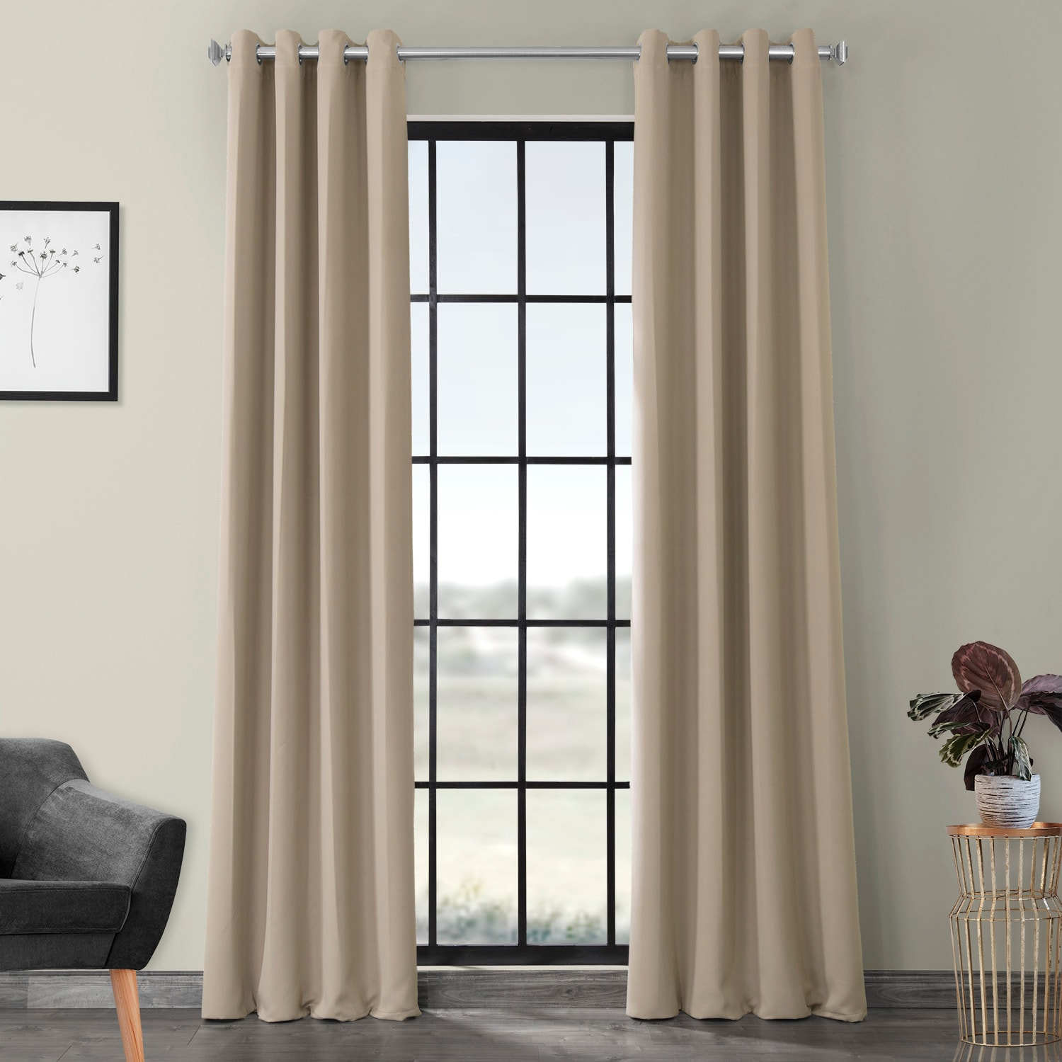 Classic Taupe Grommet Blackout Room Darkening Curtain