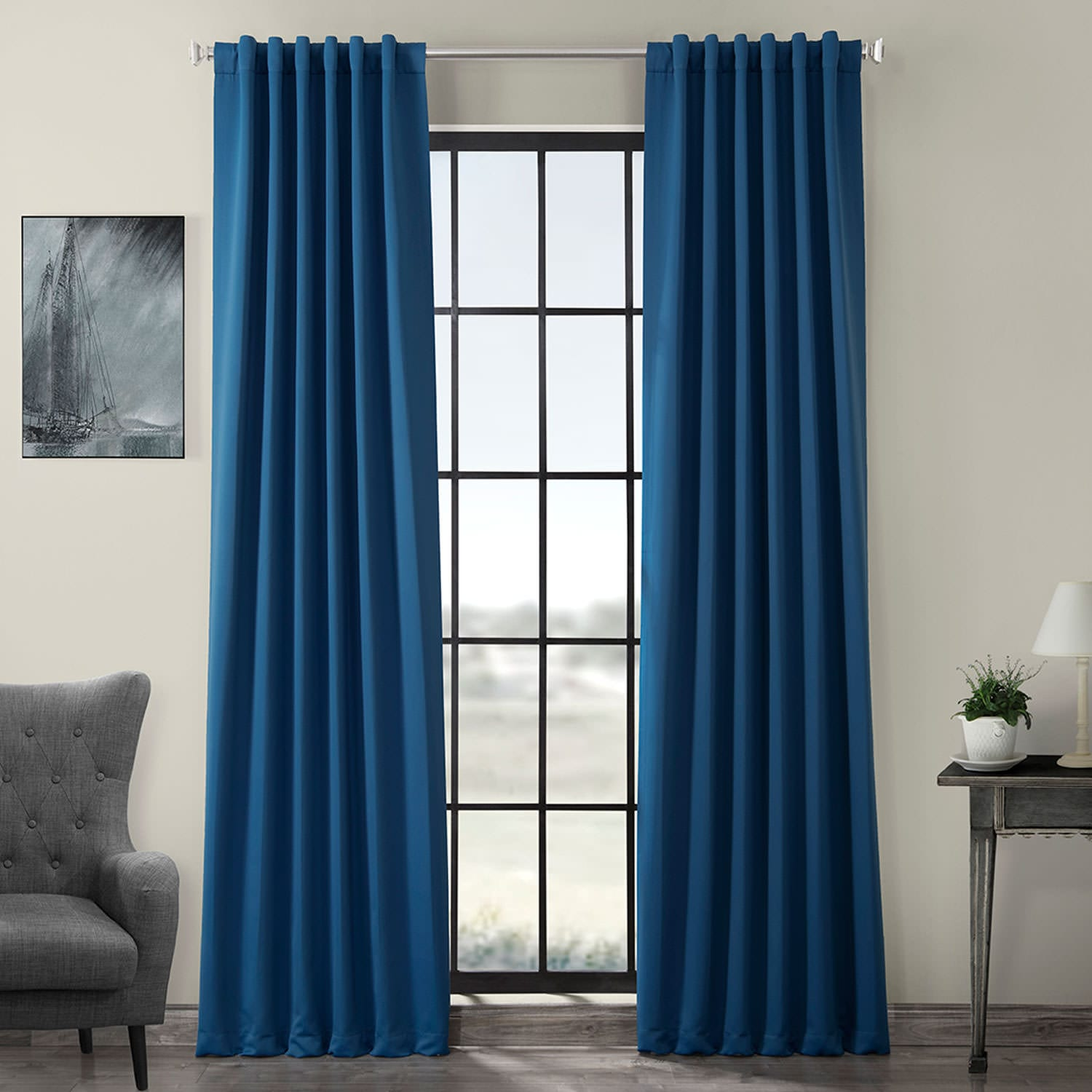 Hacienda Blue Blackout Room Darkening Curtain