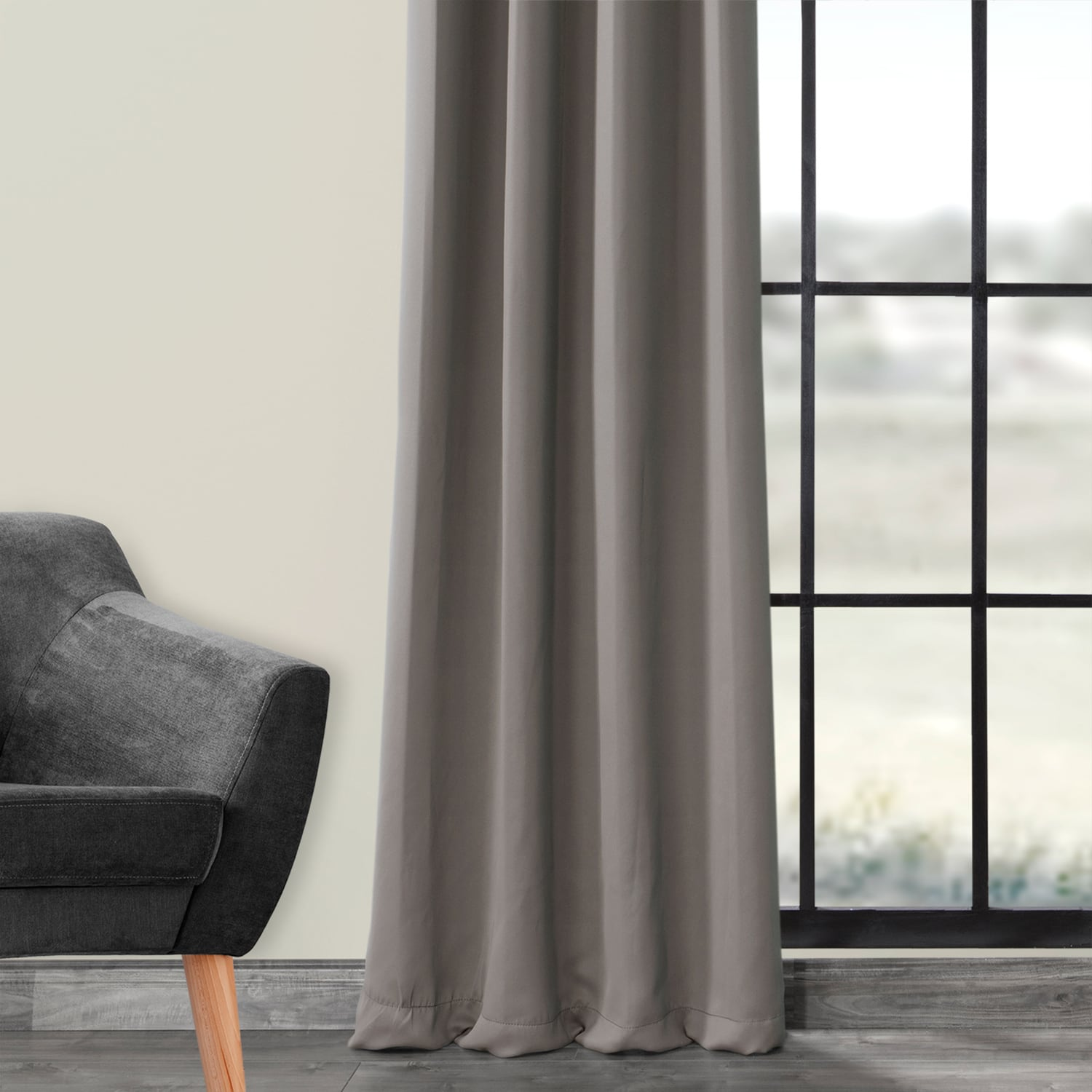Neutral Grey Grommet Blackout Room Darkening Curtain