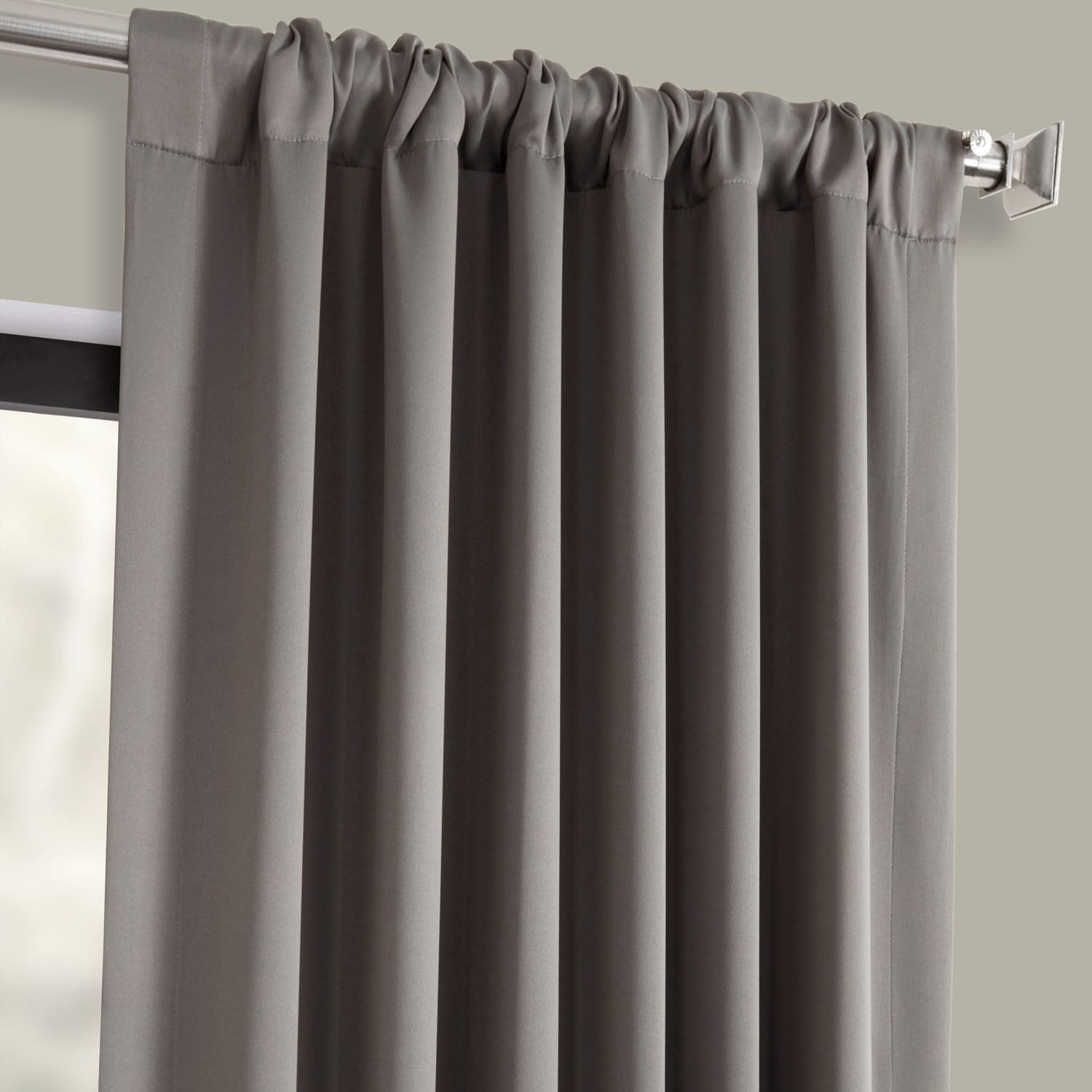 Neutral Grey Pole Pocket Blackout Room Darkening Curtain