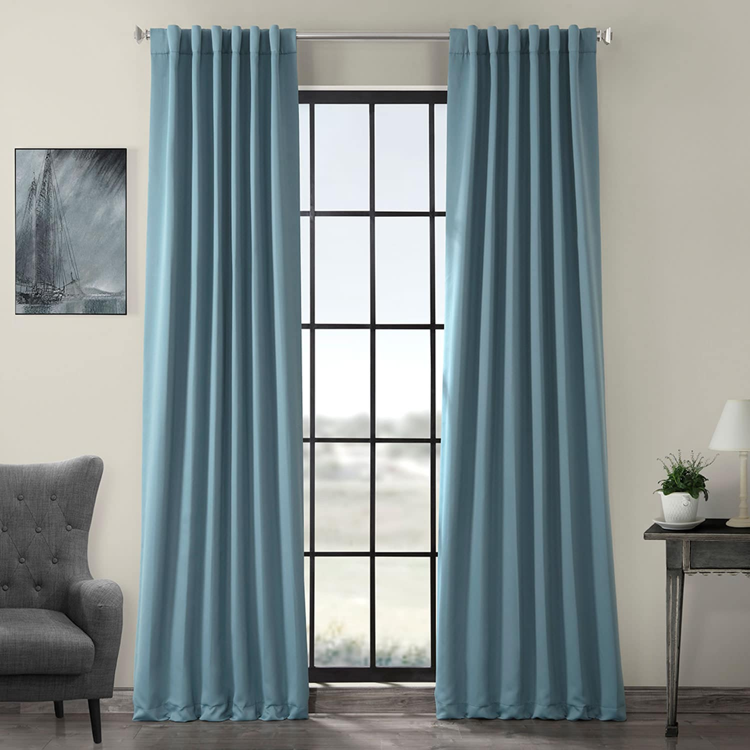 Dragonfly Teal Room Darkening Curtain