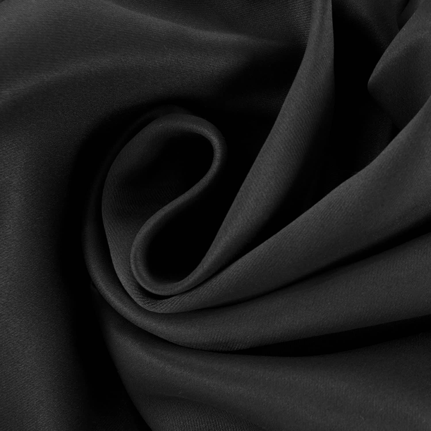 Jet Black Pole Pocket Blackout Room Darkening Curtain