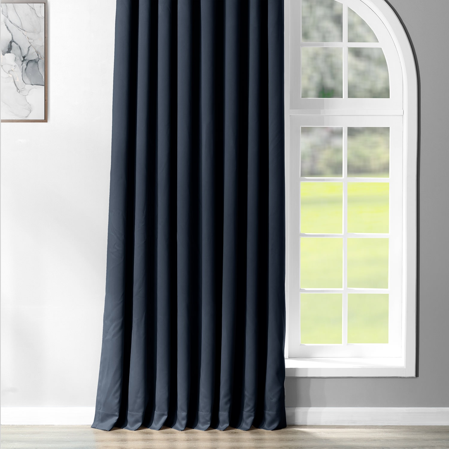 Navy Blue Grommet Extra Wide Room Darkening Curtain