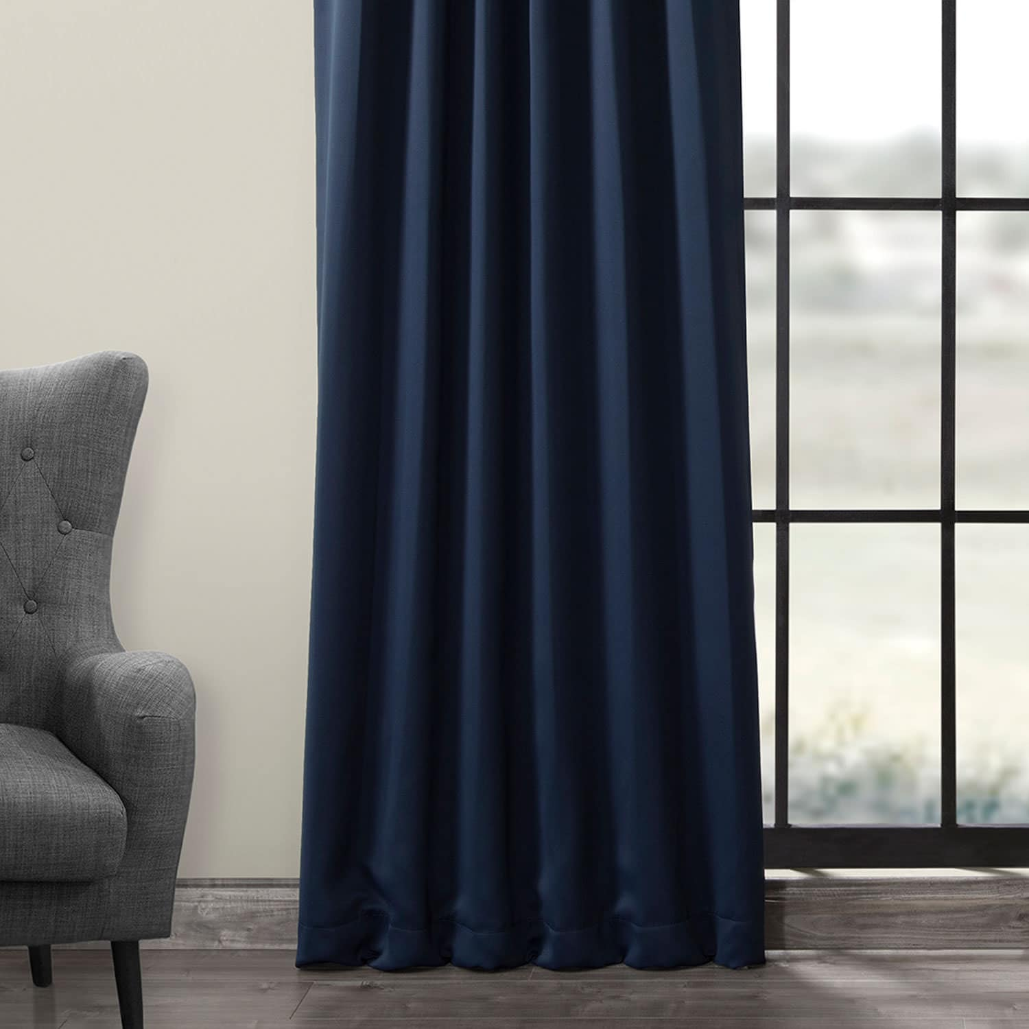 blackout drapes with pole pocket in navy hpd. Black Bedroom Furniture Sets. Home Design Ideas