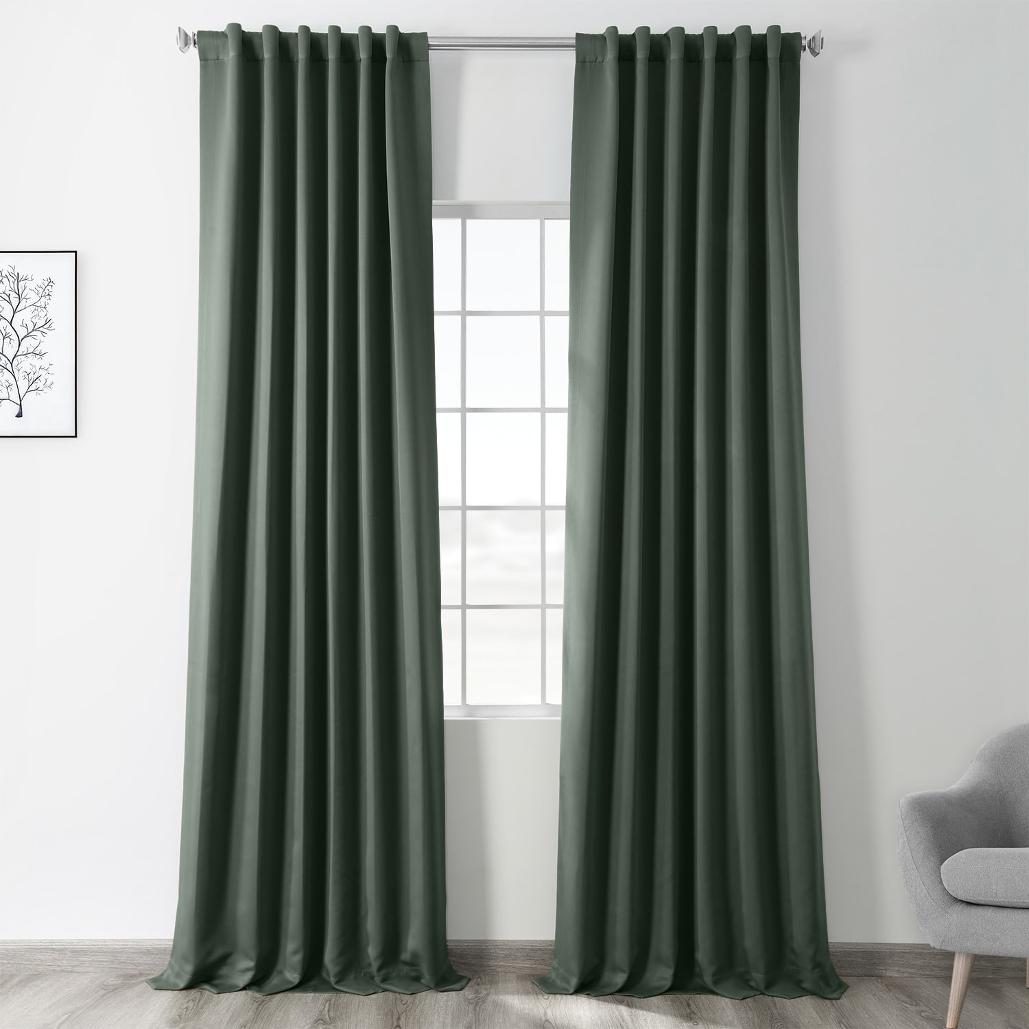 Dark Mallard Green Blackout Room Darkening Curtain