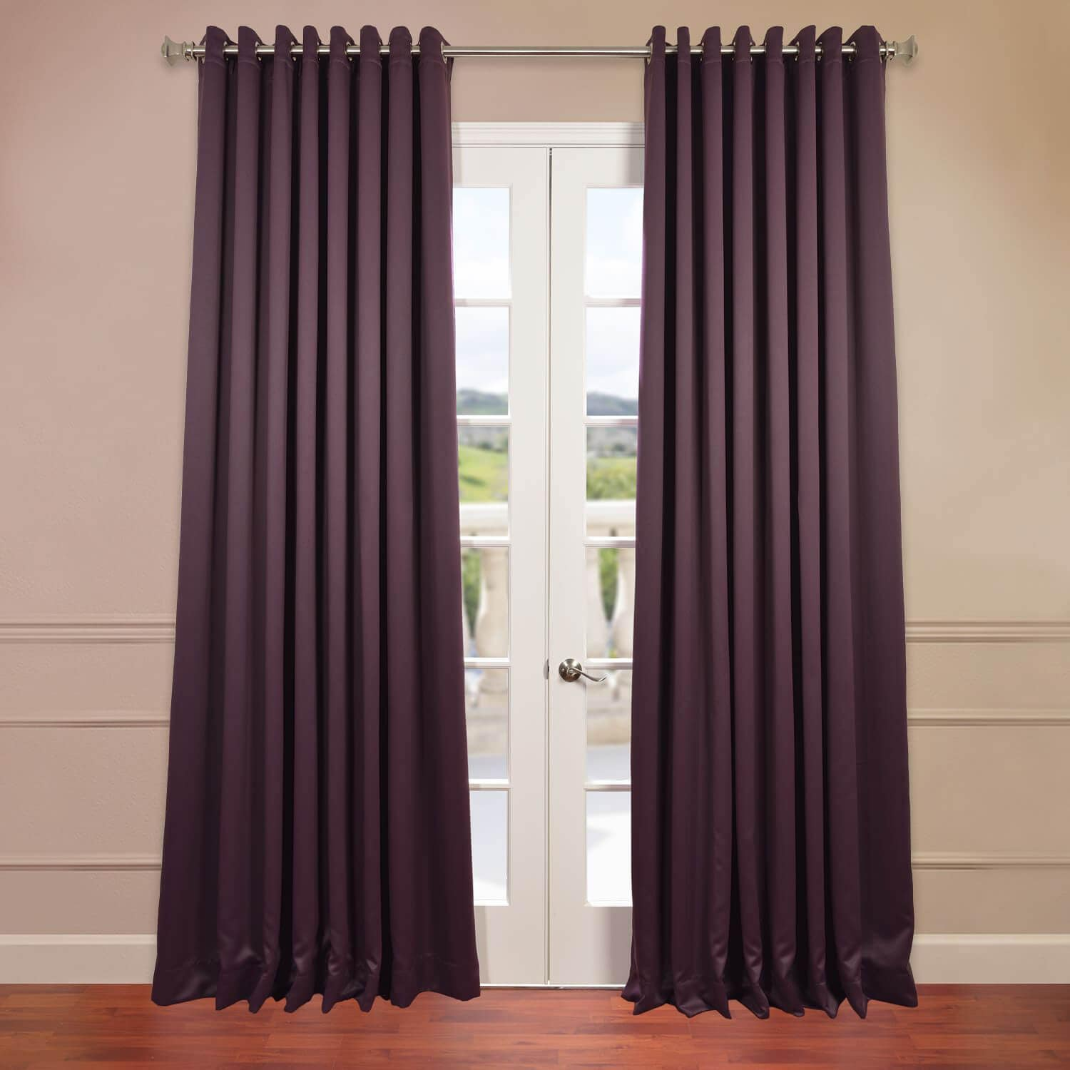 Where to find aubergine grommet doublewide blackout for Where to buy drapery