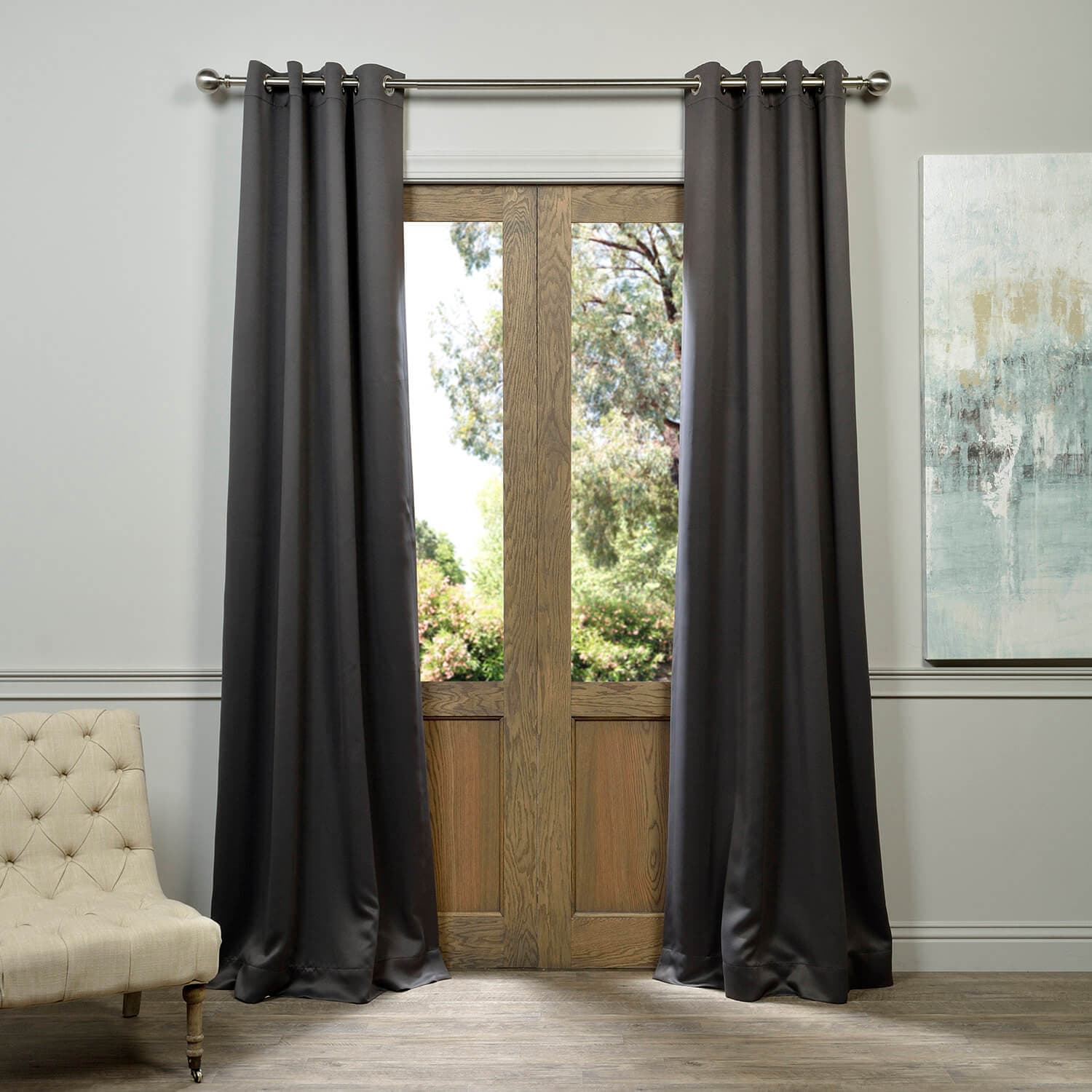 Anthracite Grey Grommet Blackout Room Darkening Curtain