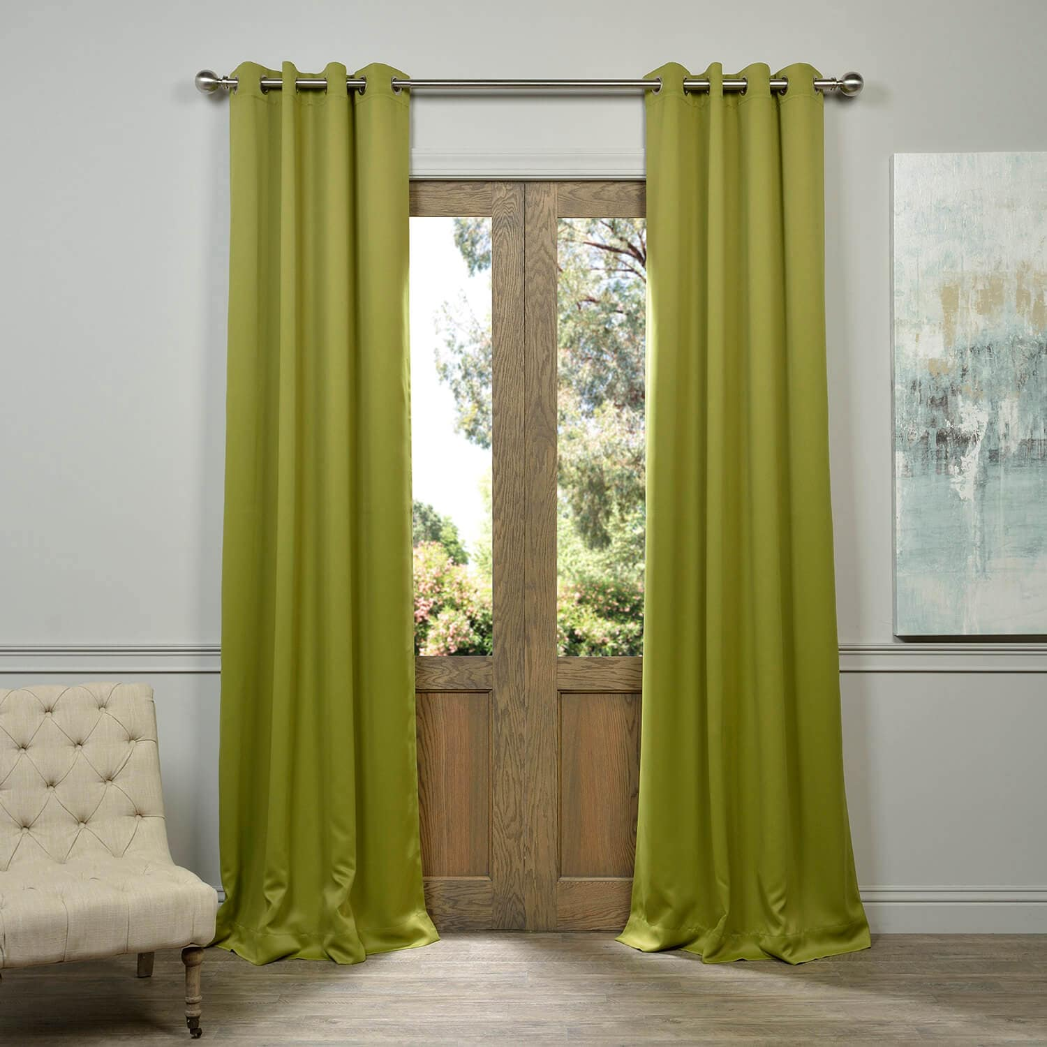 Moss Green Grommet Blackout Room Darkening Curtain