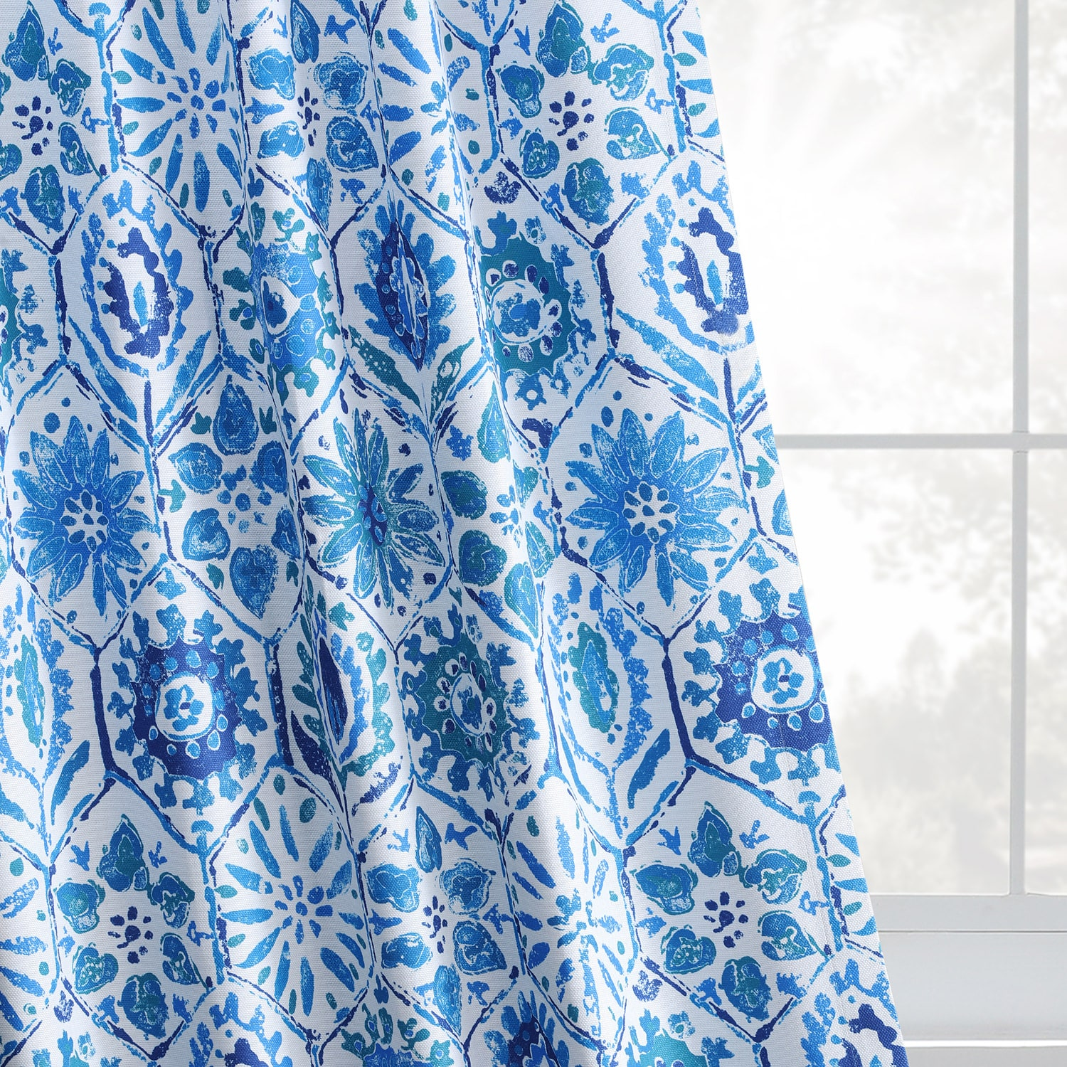 Rio Blue Printed Linen Textured Blackout Curtain