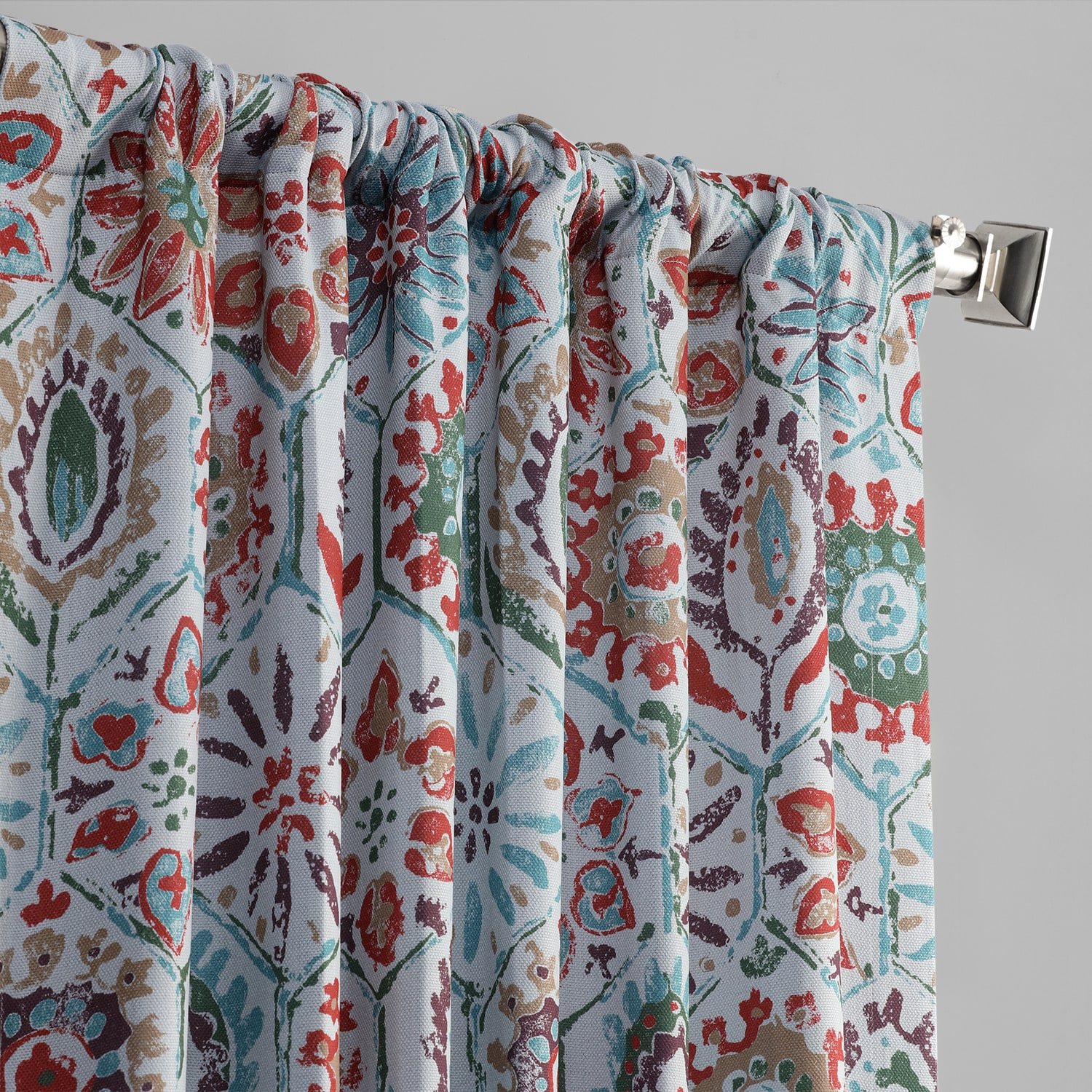 Rio Multi Printed Linen Textured Blackout Curtain