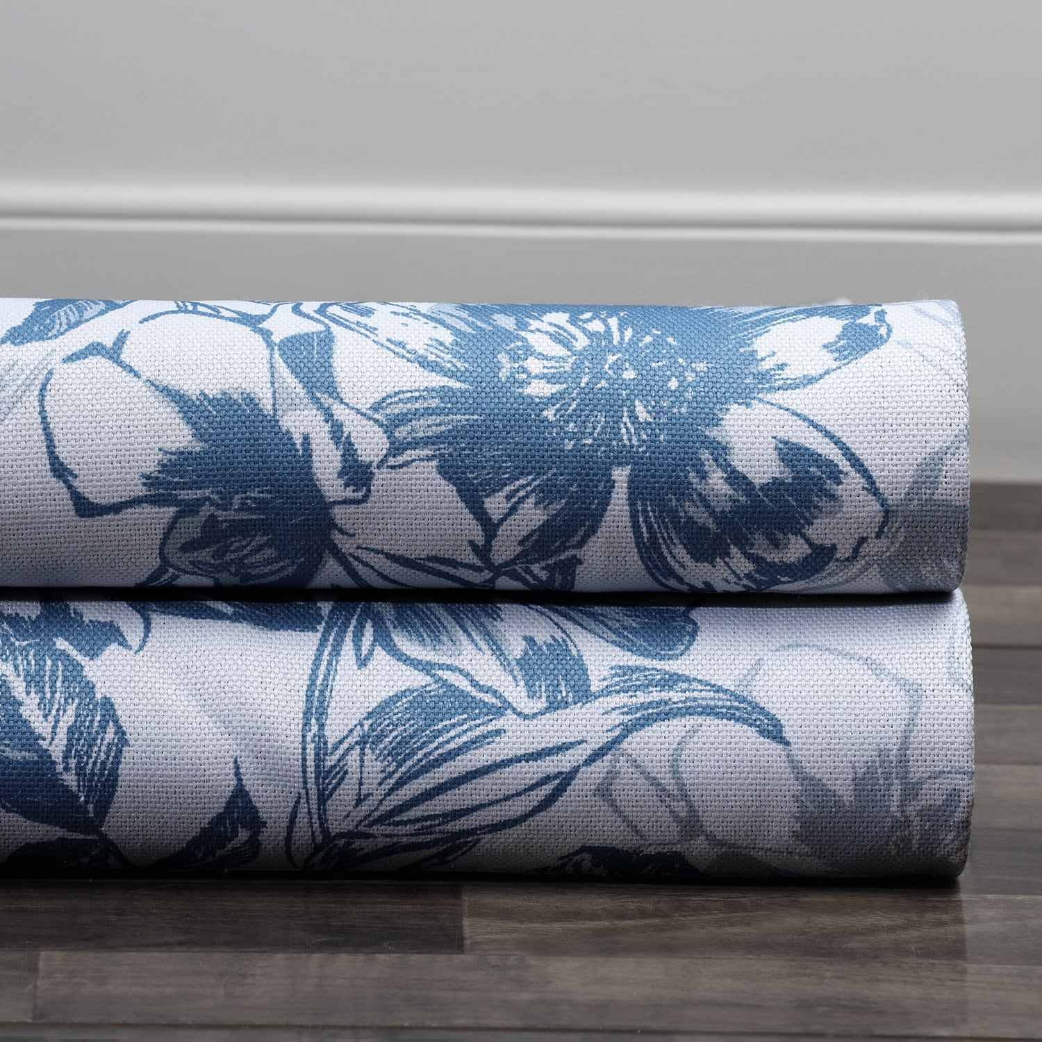 Blue Poppy Printed Linen Textured Blackout Swatch