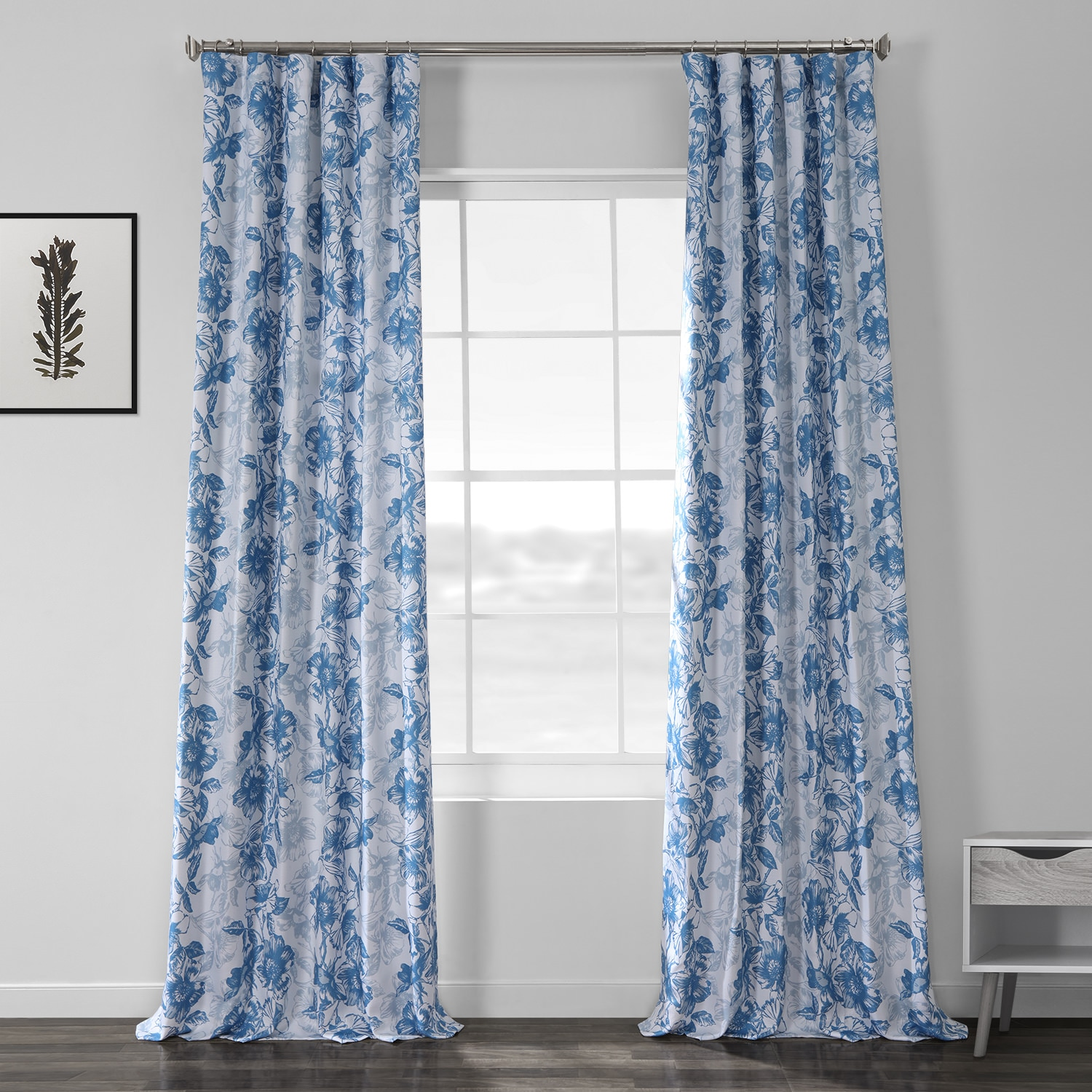 Blue Poppy Printed Linen Textured Blackout Curtain
