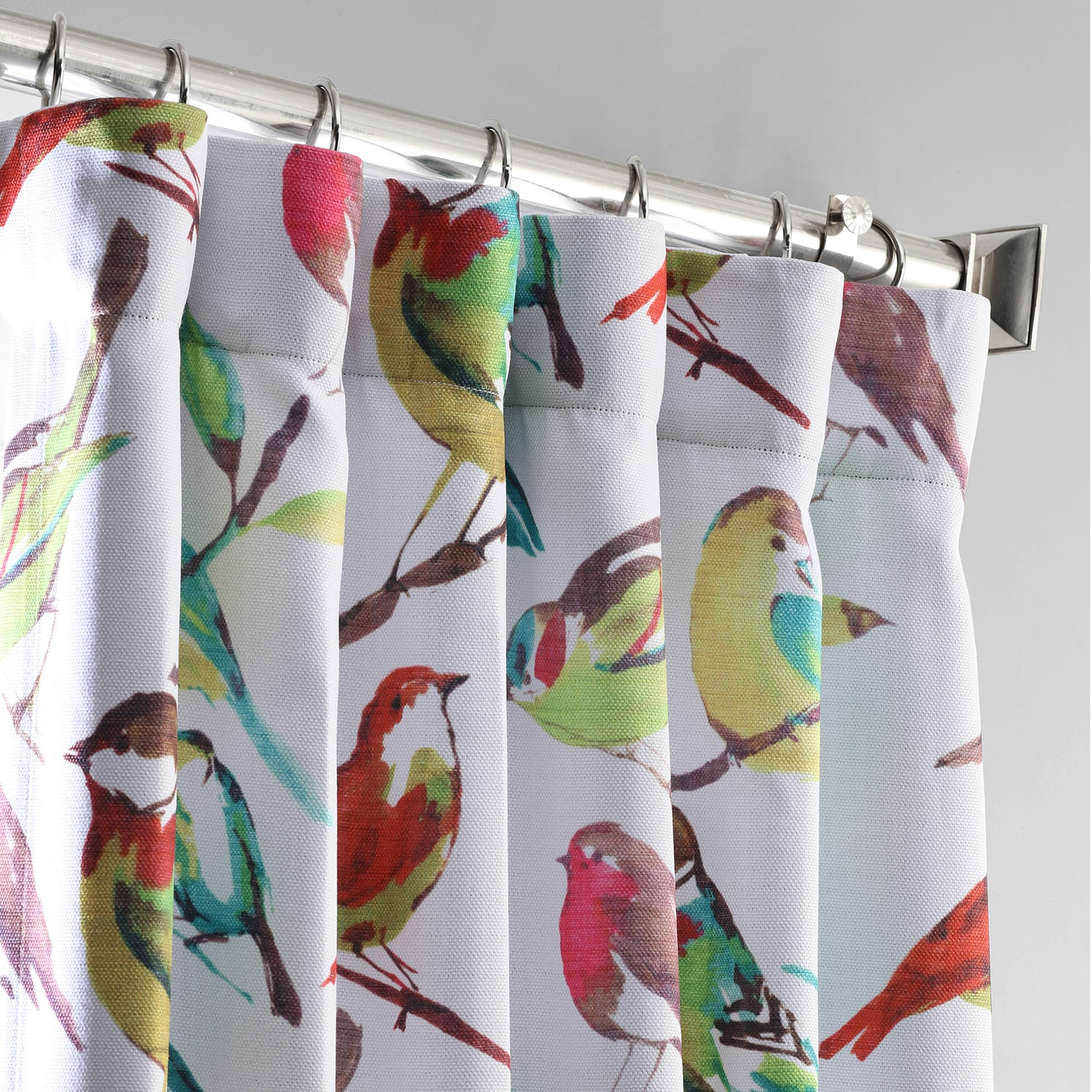 Housefinch Multi Printed Linen Textured Blackout Curtain