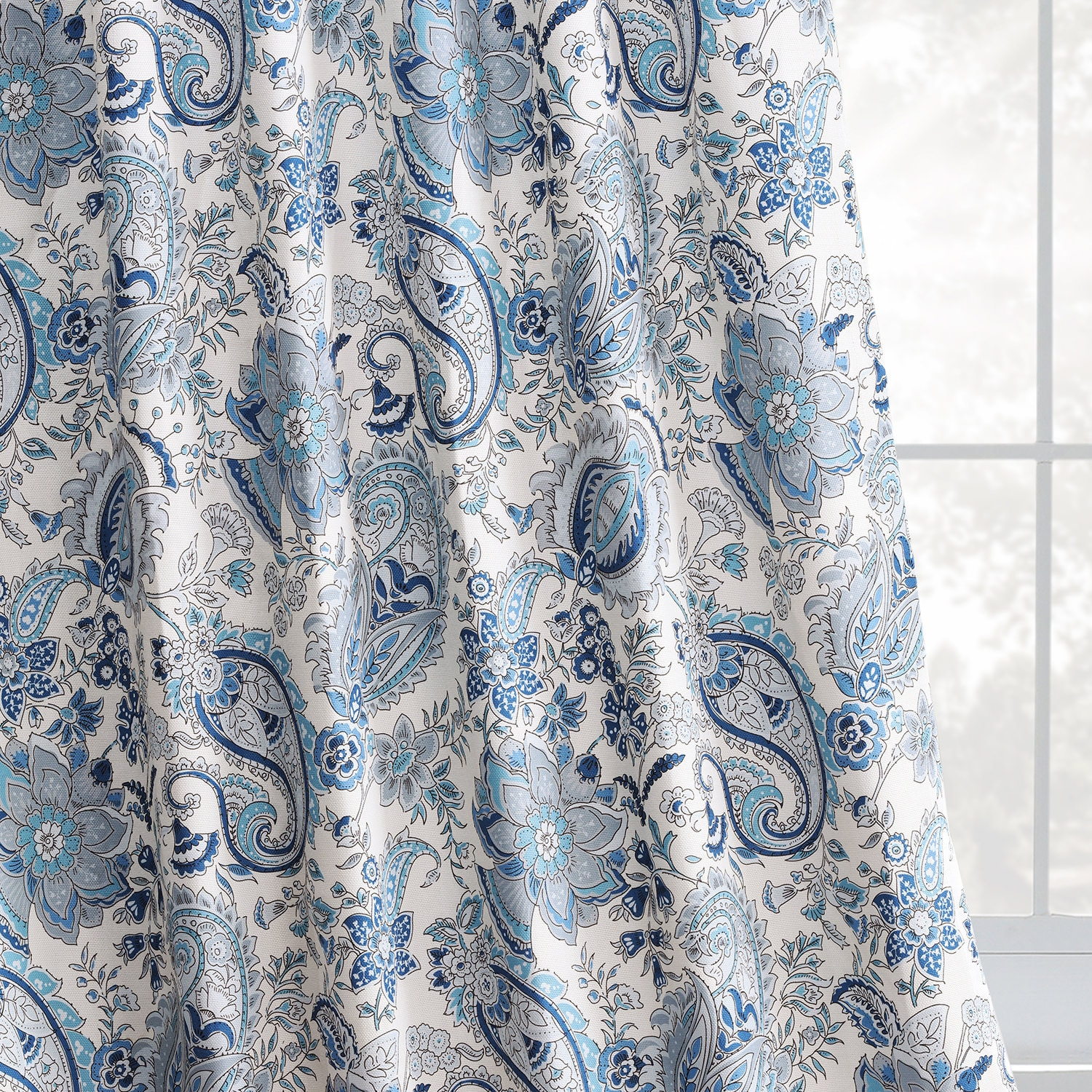 Fullbloom Blue Printed Linen Textured Blackout Curtain
