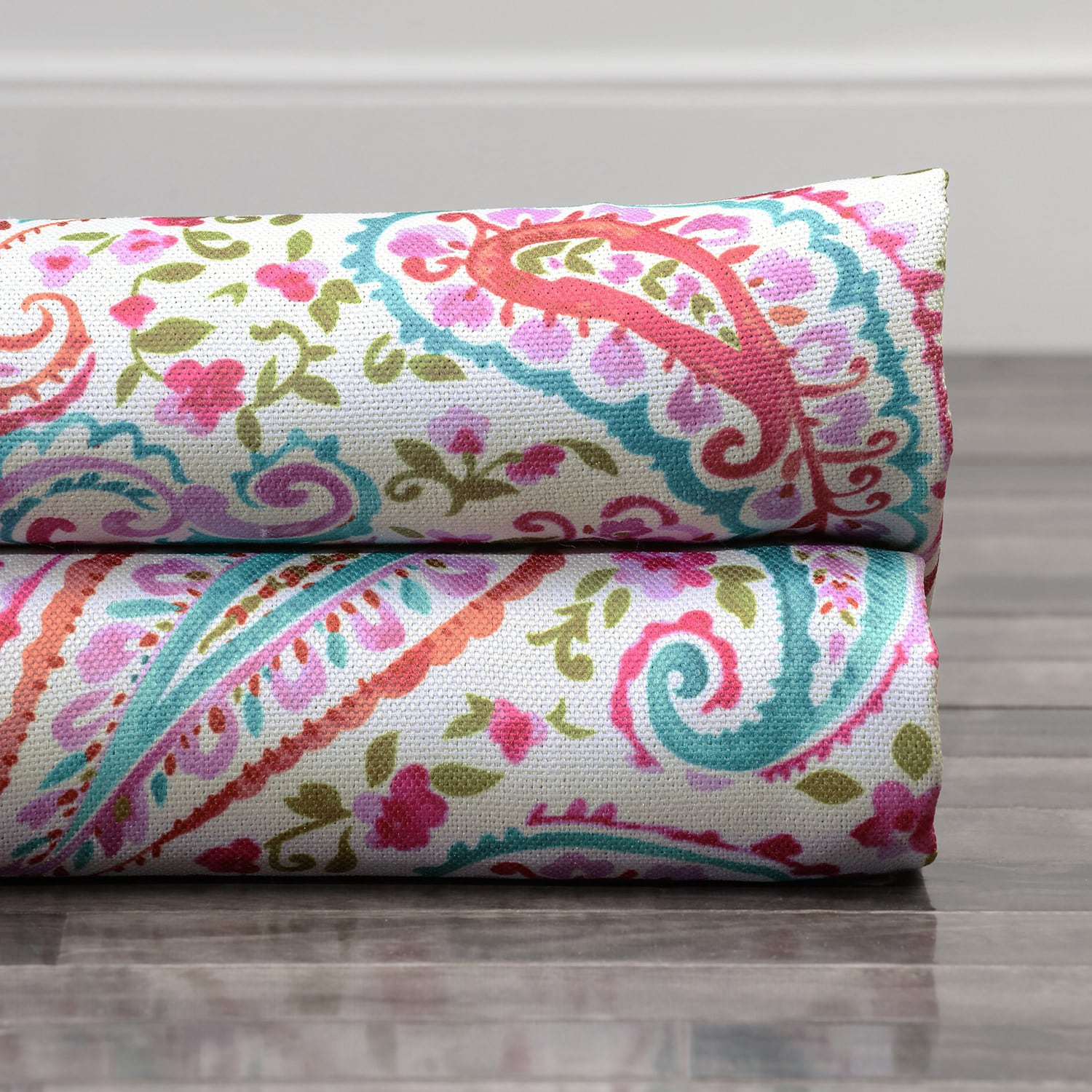 Bohemian Paisley Pink Printed Linen Textured Blackout Swatch