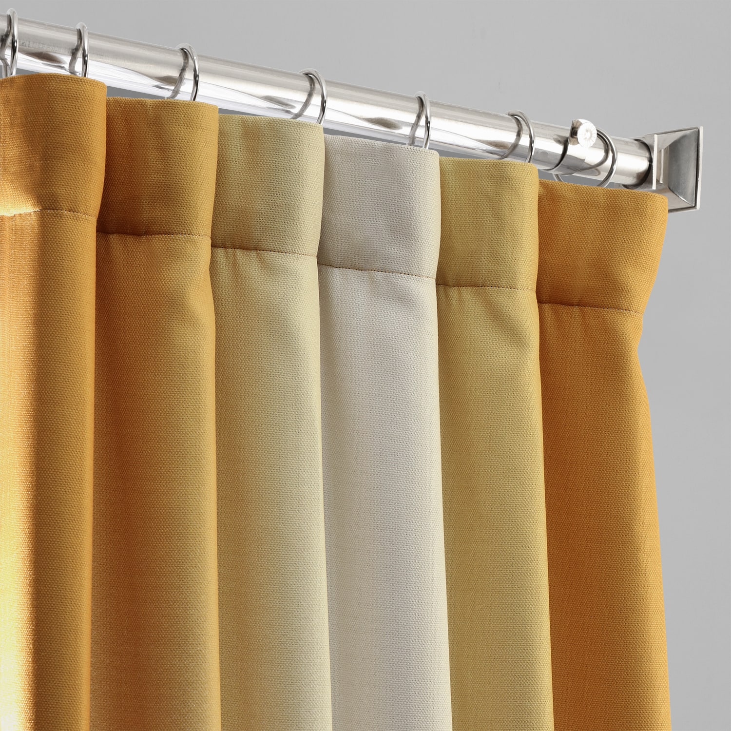 Parallel Gold Printed Linen Textured Blackout Curtain
