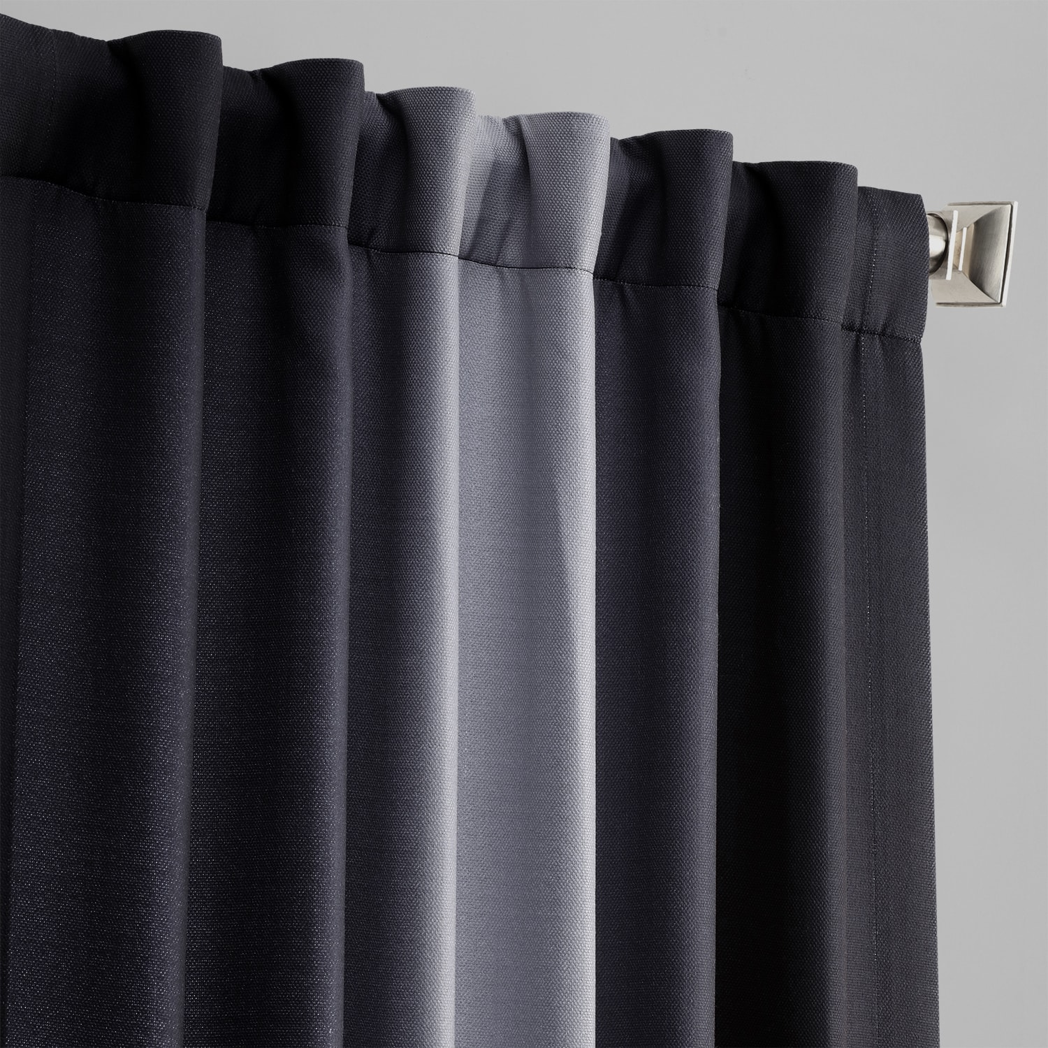 Parallel Grey Printed Linen Textured Blackout Curtain