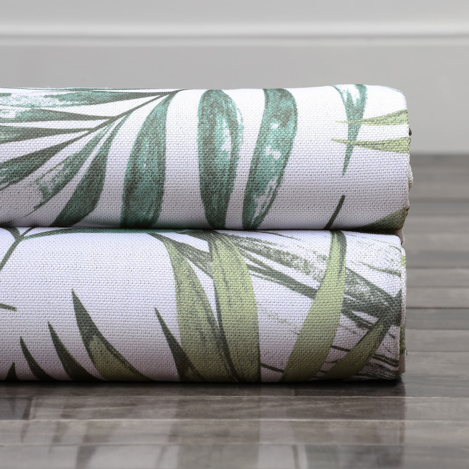 Palms Green Printed Linen Textured Blackout Swatch