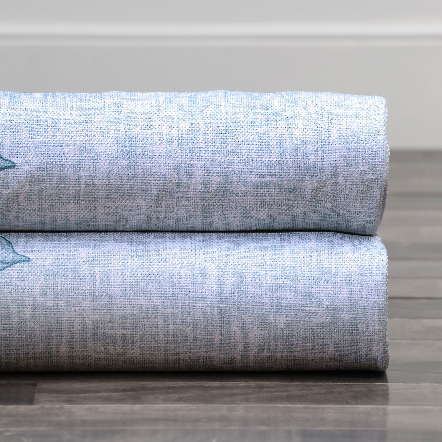 Copenhagen Blue Printed Linen Textured Blackout Swatch