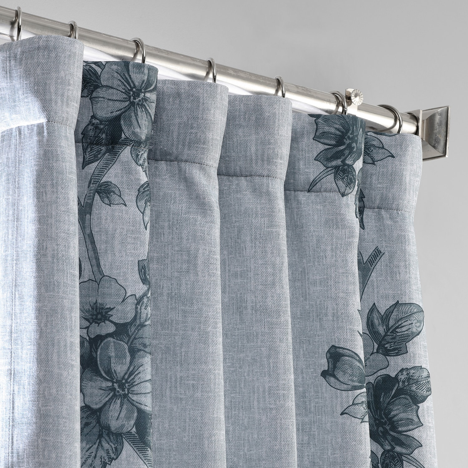 Copenhagen Grey Printed Linen Textured Blackout Curtain
