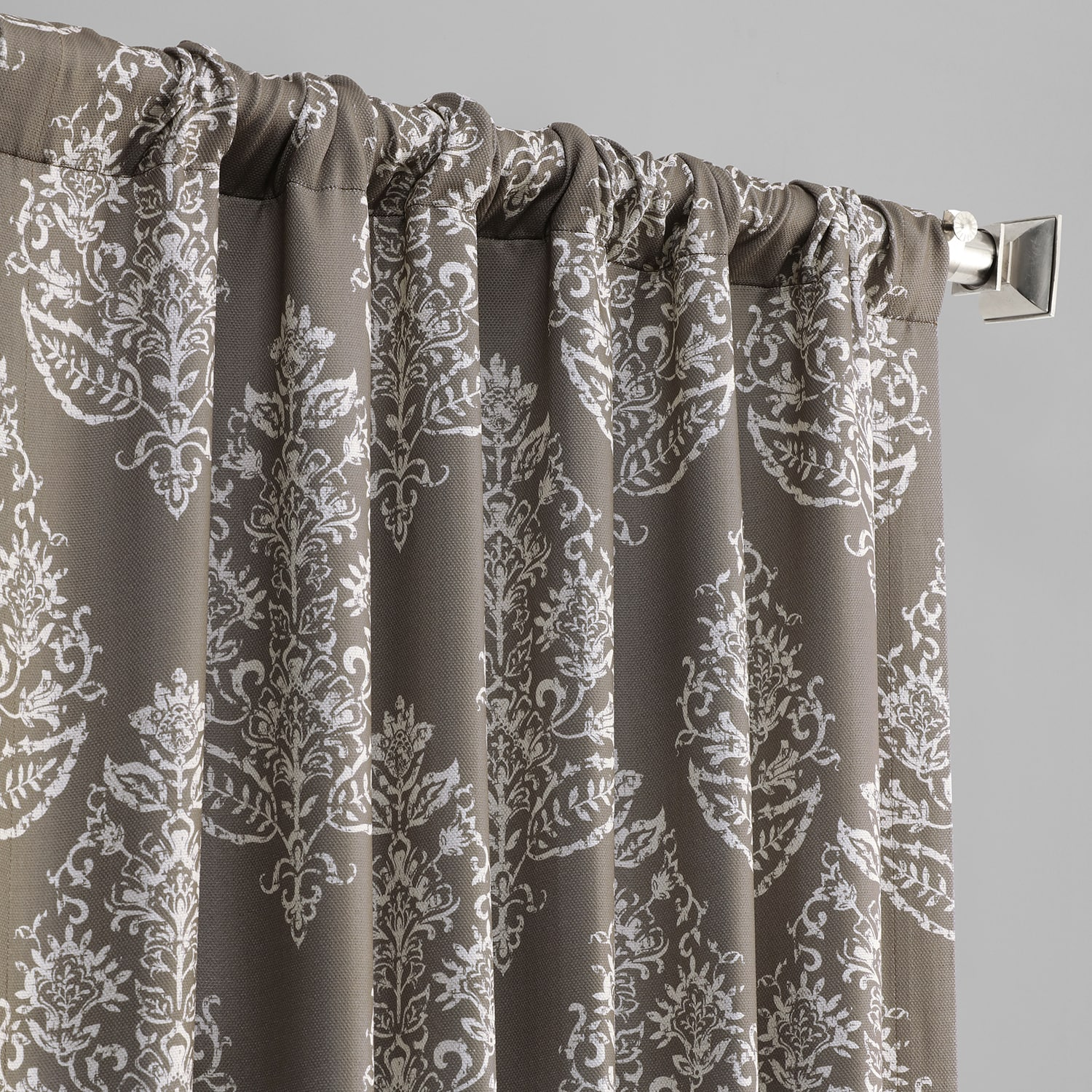 Istanbul Taupe Printed Linen Textured Blackout Curtain