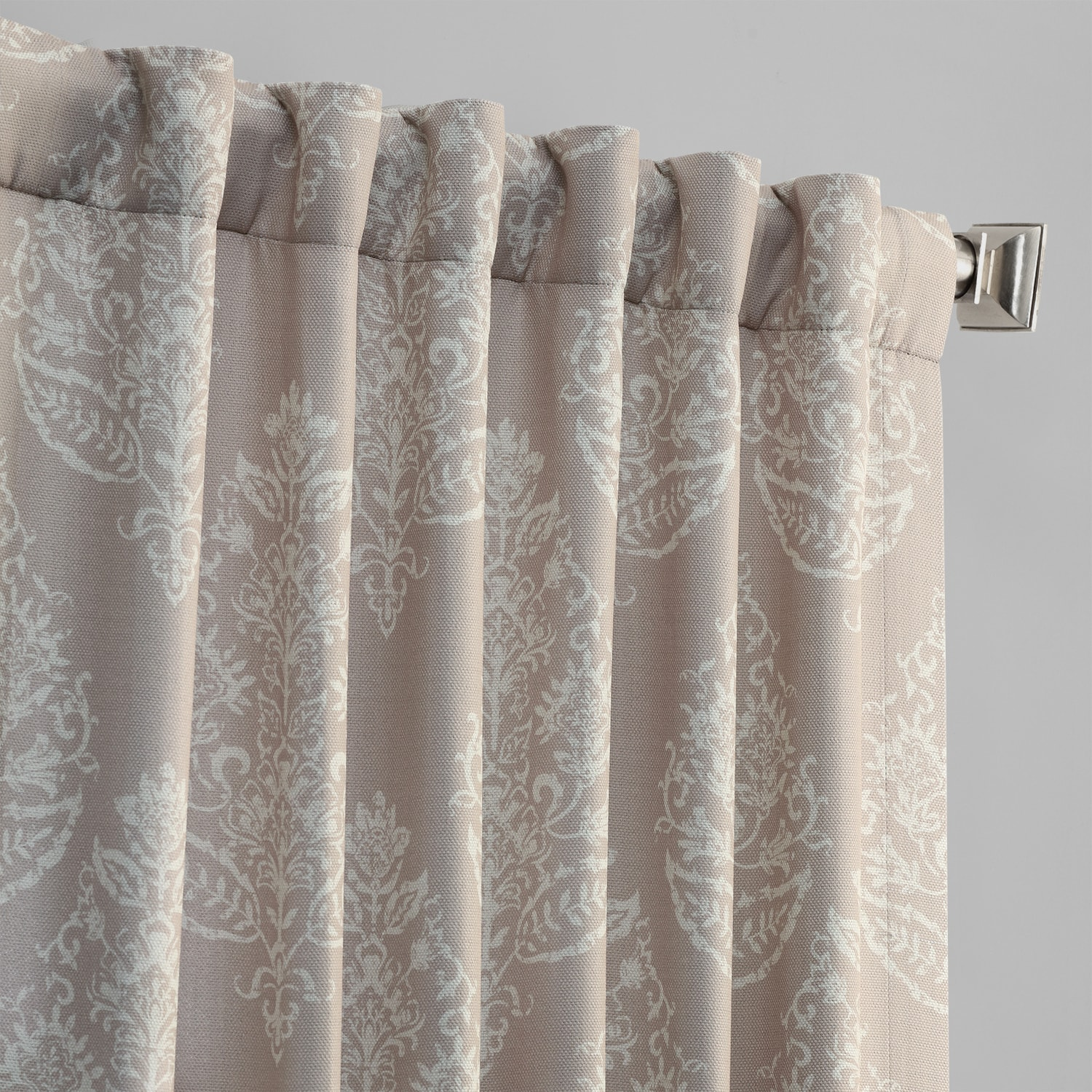 Istanbul Tan Printed Linen Textured Blackout Curtain